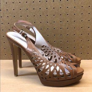 BCBGeneration Duncan Leather Peep Toe Heels sz 8.5